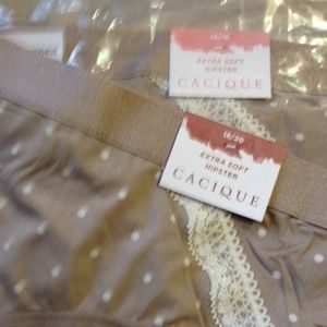 NWT!  Cacique Extra Soft Hipster Panties Taupe Dot